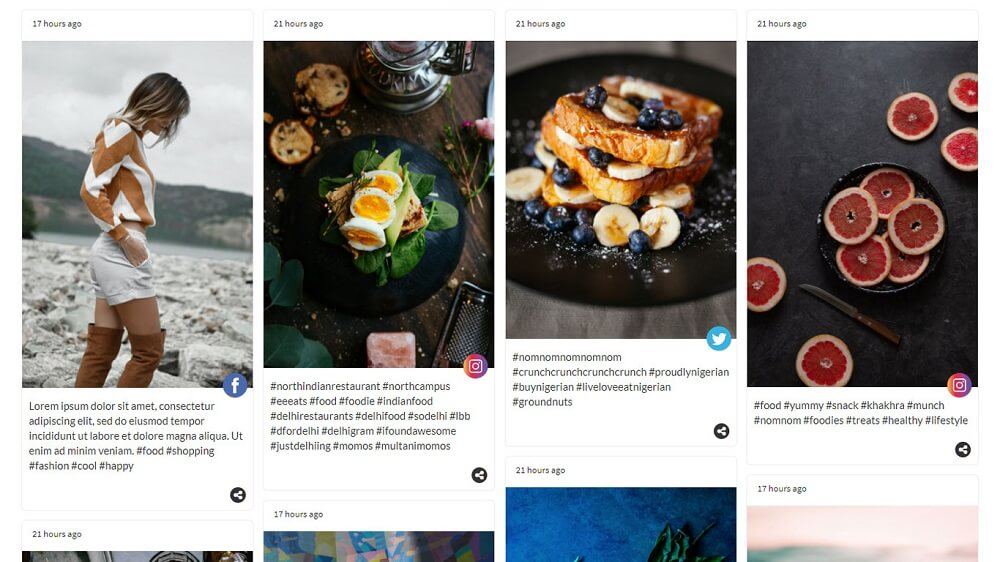 Embed Social Media Feed on Website Example - Onstipe Social Wall 1