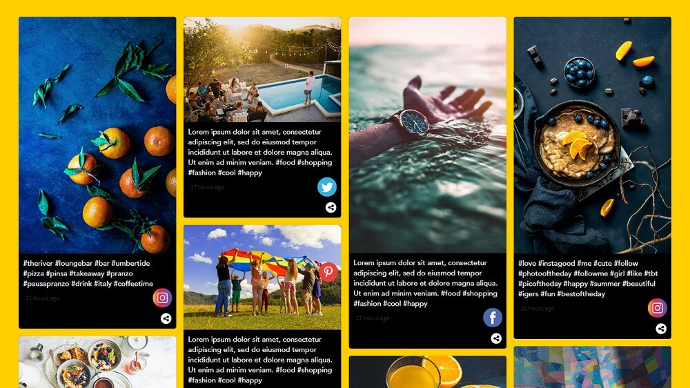 Embed Social Media Feed on Website Example - Onstipe Social Wall 4