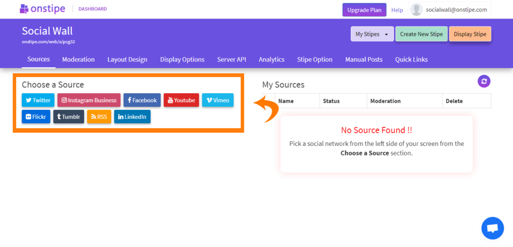 Go to Sources and choose a social network - - Embed social media feed