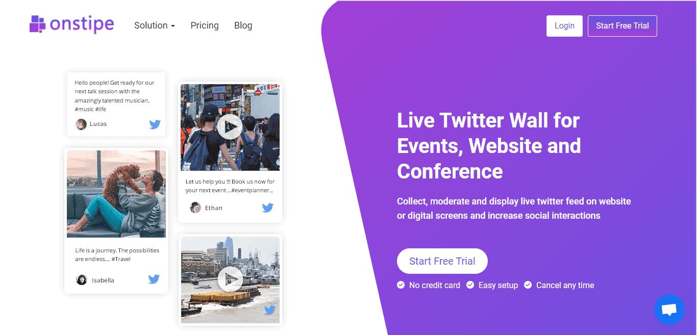 Live-Twitter Wall for Website - Embed live Twitter Feed on website - onstipe