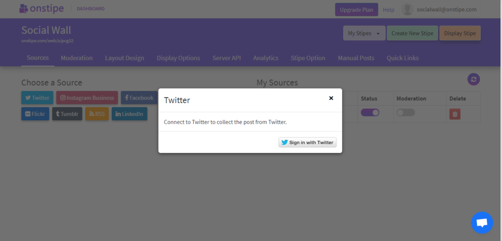 authorize Onstipe to connect your social account - Embed social media feed