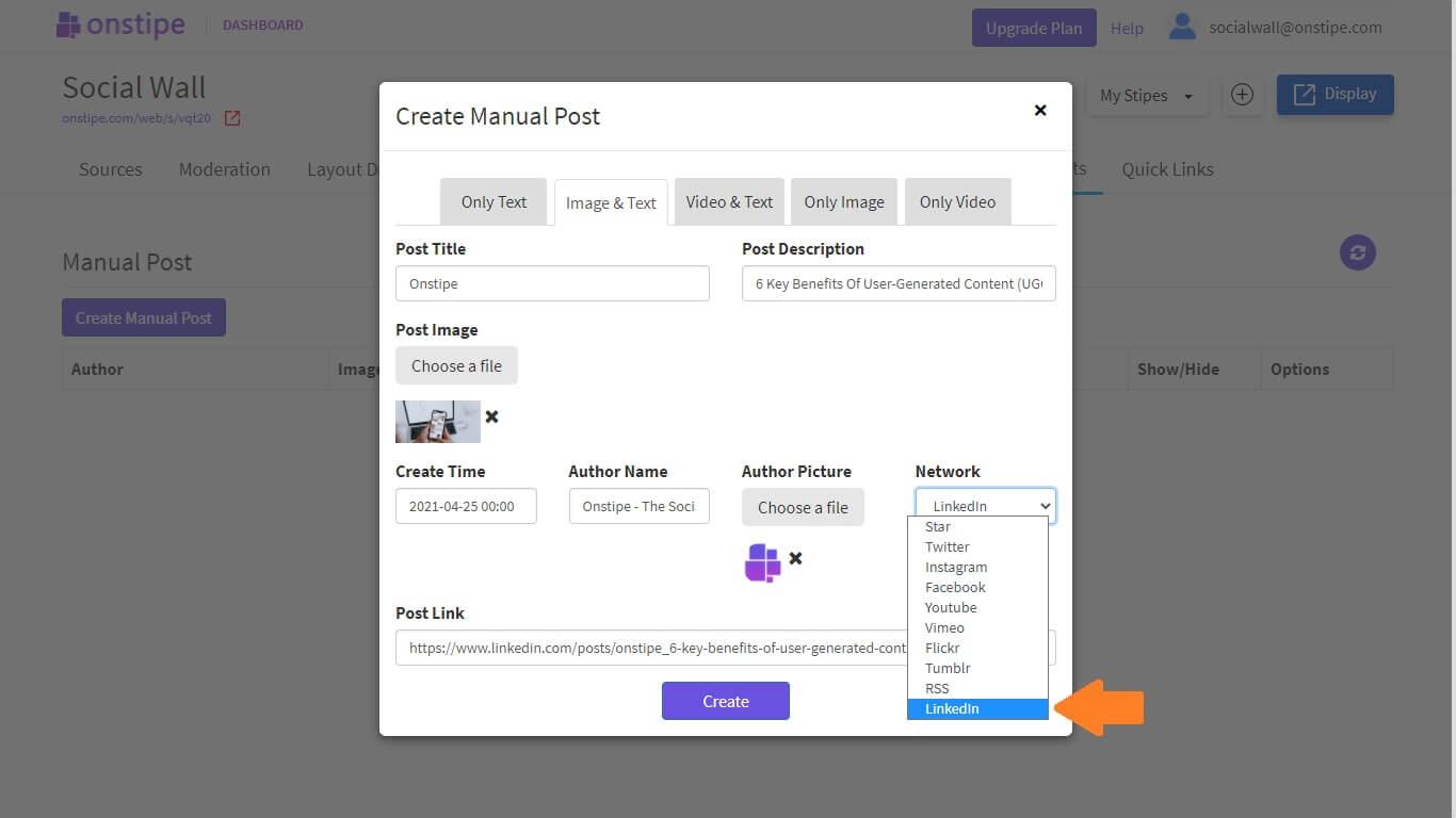 Create Custom Post for LinkedIn feed