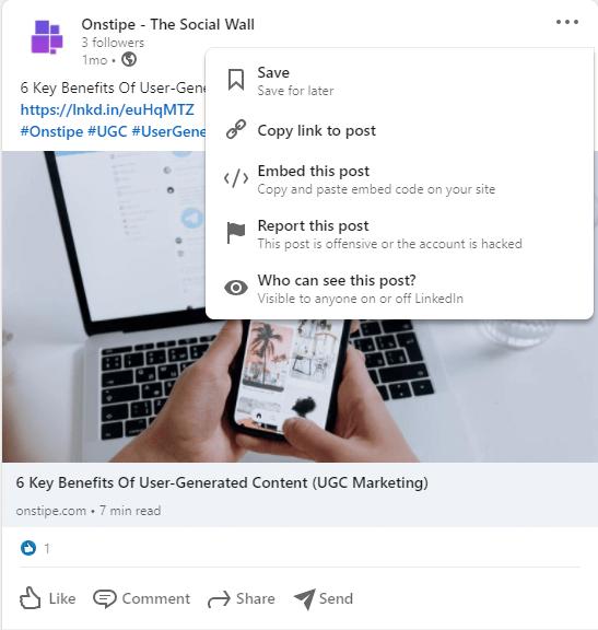 Get LinkedIn Post URL