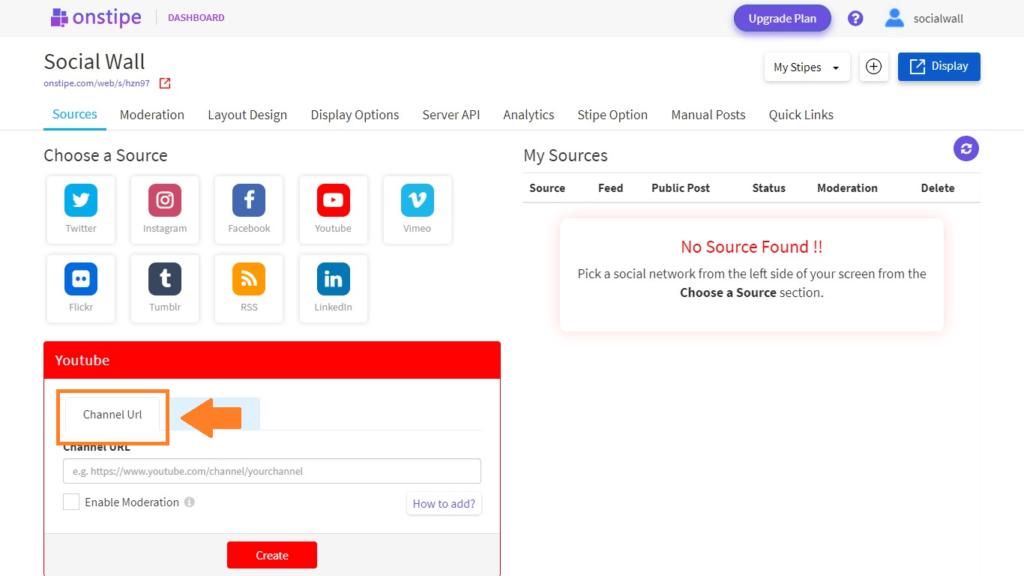 Choose YouTube Channel URL - Onstipe