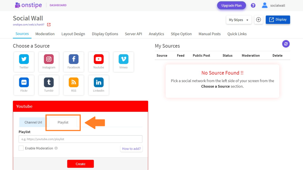Choose YouTube Playlist URL - Onstipe