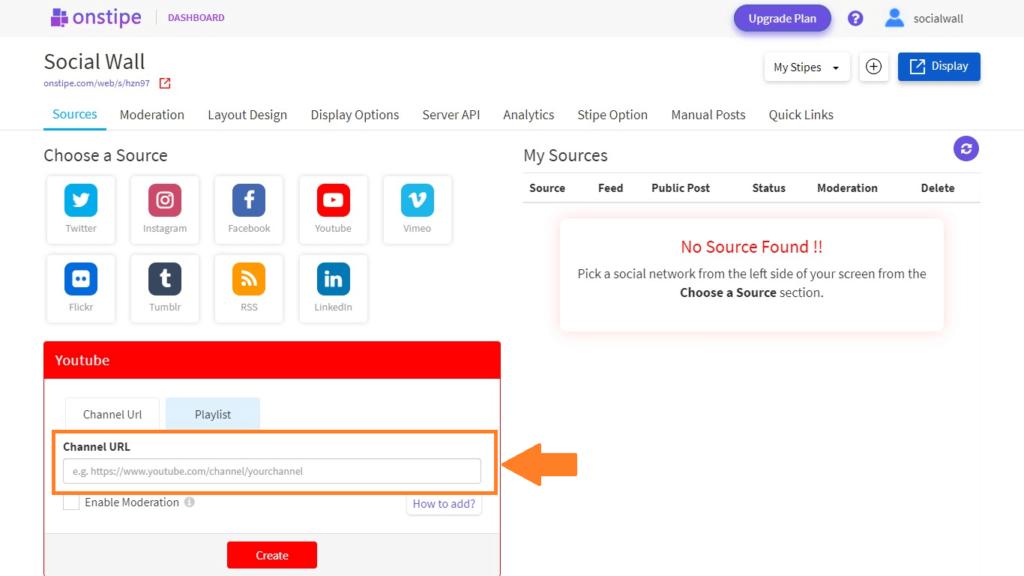 Enter YouTube Channel URL - Onstipe