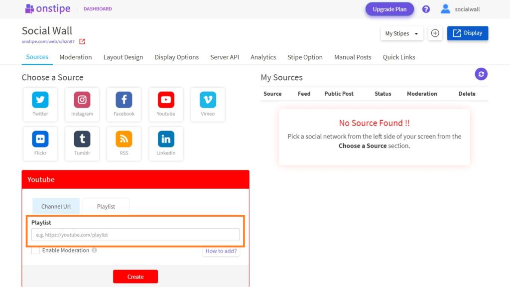 Enter YouTube Playlist URL - Onstipe