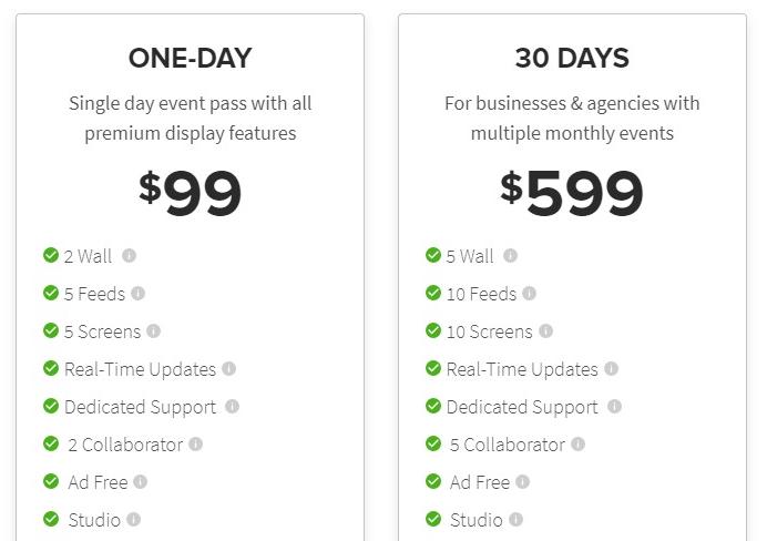 Social wall price - Taggbox