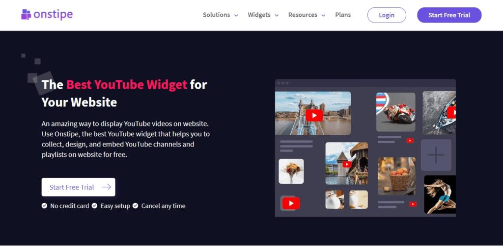 YouTube Feed Widget - Onstipe