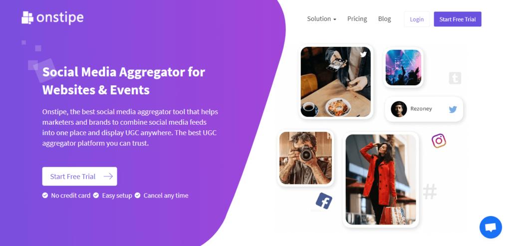 social media aggregator tool - onstipe