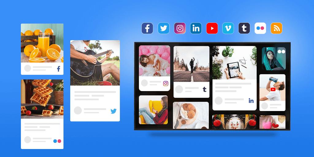 Display social media feeds on Tv screens