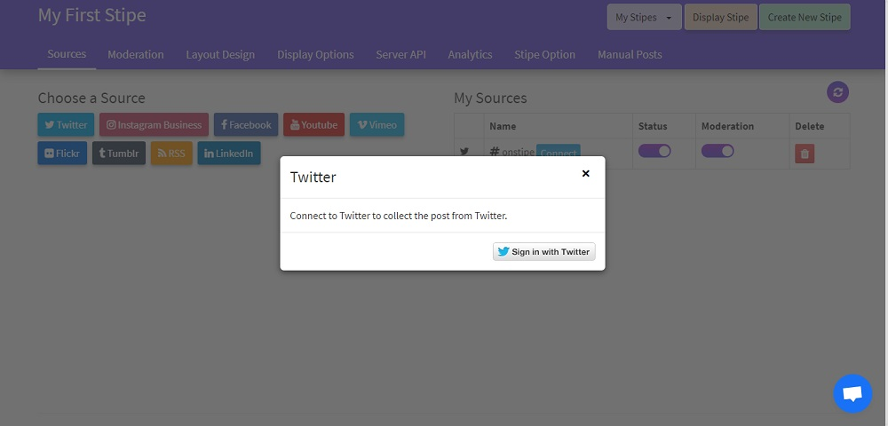 Authorize Twitter account with Onstipe