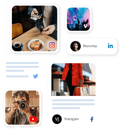 Social media aggregator for embed and display